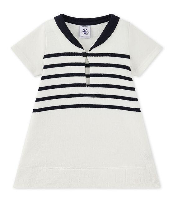 Abito bebé bambina in jersey pesante bianco Marshmallow / blu Smoking