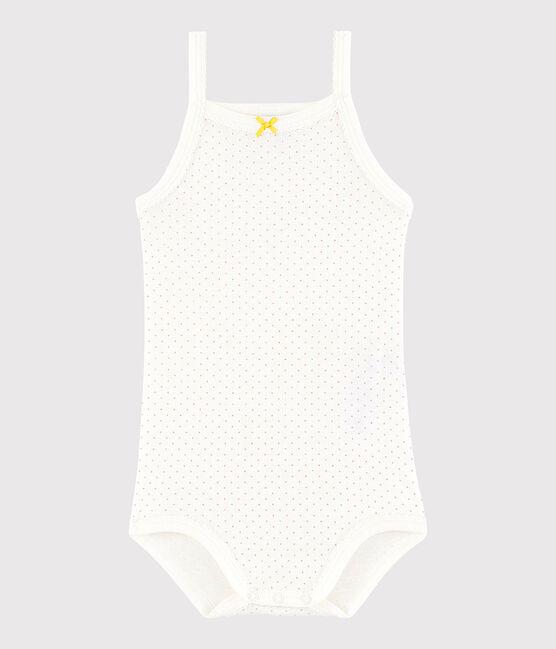 Body con spalline bebè femmina bianco Marshmallow / rosa Charme