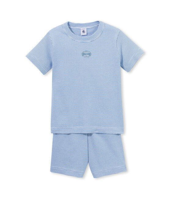 Pigiama corto bambino millerighe blu Alaska / bianco Ecume