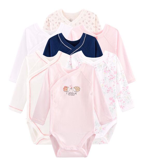 Pochette sorpresa di 7 body nascita a manica lunga bebè femmina lotto .