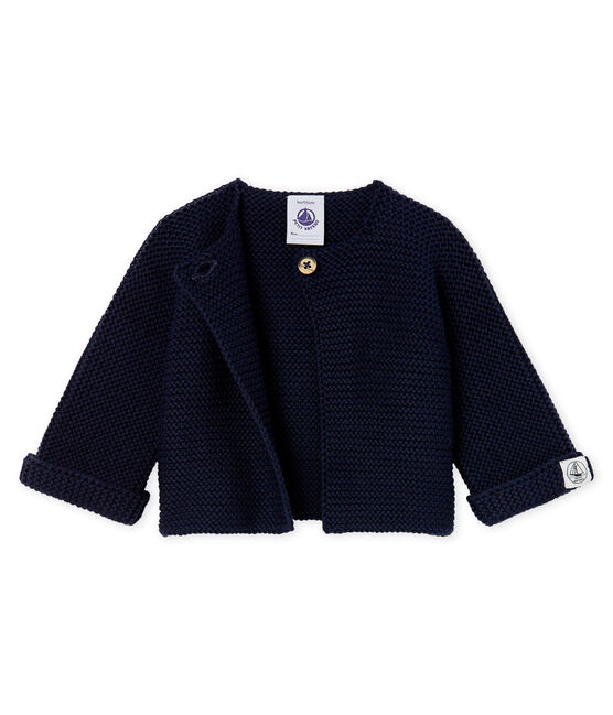 Cardigan bebè in tricot 100% cotone blu Smoking