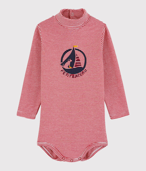 Body manica lunga e dolcevita bebè rosso Terkuit / bianco Marshmallow