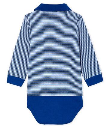 Body a polo fantasia millerighe bebè maschio blu Limoges / bianco Marshmallow