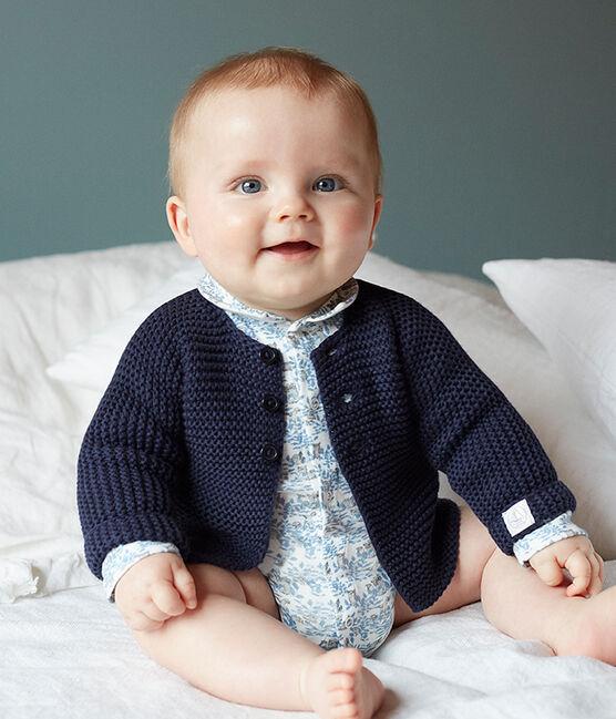 Body nascita manica lunga bebè maschio a costine bianco Marshmallow / blu Toudou
