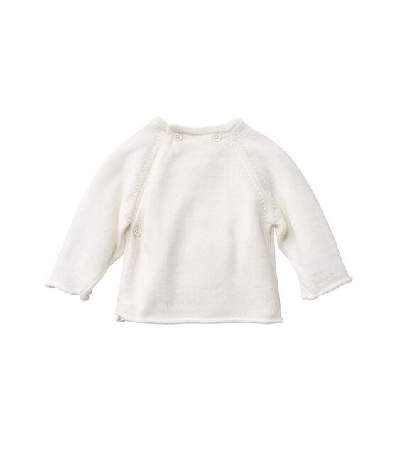 Cardigan bebé in lana e cotone bianco Lait