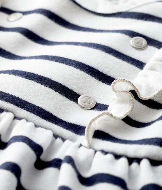 Abito a maniche lunghe da bebè femmina bianco Marshmallow / blu Smoking