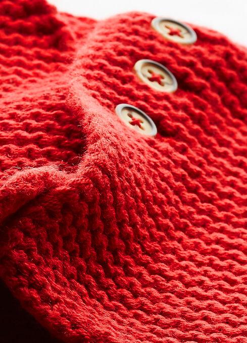 Cardigan per bebè in misto lana e cotone rosso Froufrou