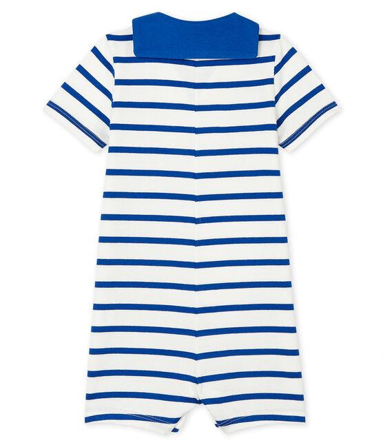 Tutina corta bebè maschio rigata bianco Marshmallow / blu Surf