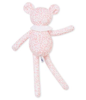 Doudou agnellino jersey stampato bianco Marshmallow / rosa Joli