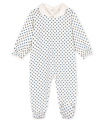 Tutina bebè femmina a costine bianco Marshmallow / blu Contes