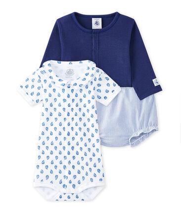 Coordinato 3 pezzi per bebé maschio blu Chaloupe / bianco Ecume
