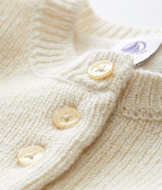 Cardigan per bebé femmina bianco Marshmallow / giallo Dore