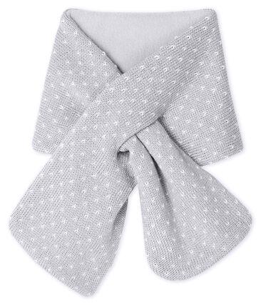 Sciarpa bebè unisex foderata in pile grigio Subway / bianco Marshmallow