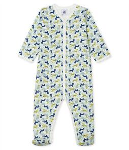 Tutina pigiama bebè maschio in molleton bianco Marshmallow / bianco Multico