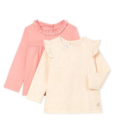Confezione da 2 t-shirt a manica lunga bebè femmina lotto .