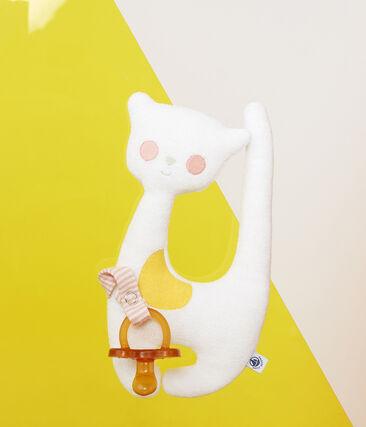 Doudou porta ciuccio bebé femmina in spugna bouclette bianco Marshmallow