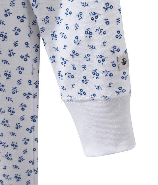 Pigiama intero bambina stampato bianco Ecume / blu Bleu