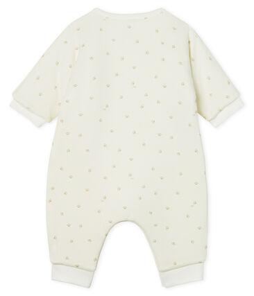 Tutina lunga bebè a costine in ovatta bianco Marshmallow / grigio Souriceau