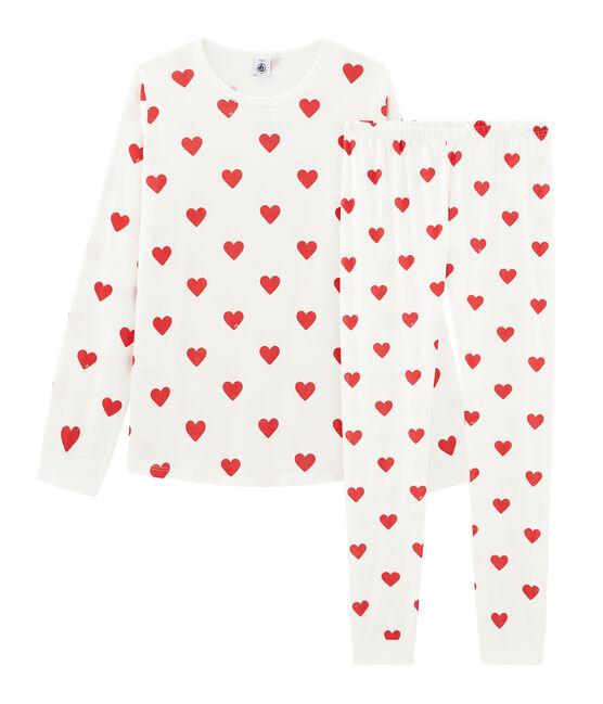 Pigiama ragazza - regazzo a costine bianco Marshmallow / rosso Terkuit