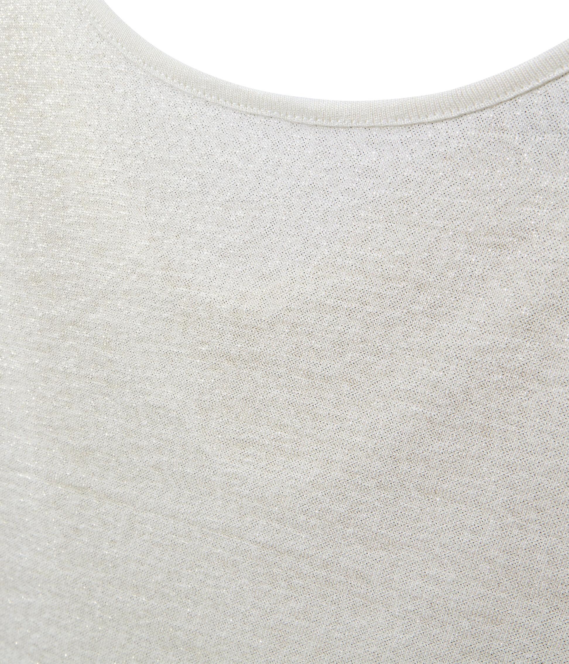 T shirt donna con scollo ad acquasantiera sul retro in lino iridescente