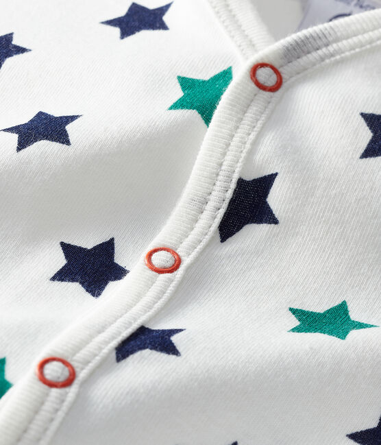 Tutina corta bebè maschio in lino/cotone bianco Marshmallow / bianco Multico