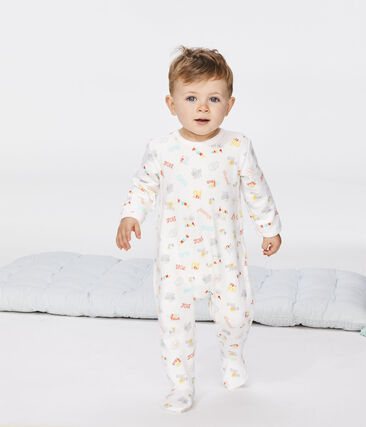 Tutina bebè femmina in molleton bianco Marshmallow / bianco Multico