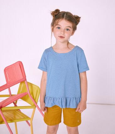 T-shirt a maniche corte bambina blu Riyadh / bianco Marshmallow