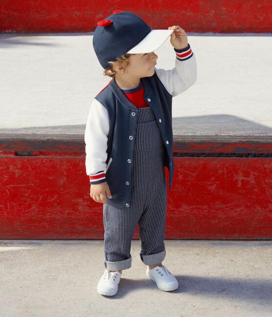 Cardigan bambino in molleton blu Haddock / bianco Multico