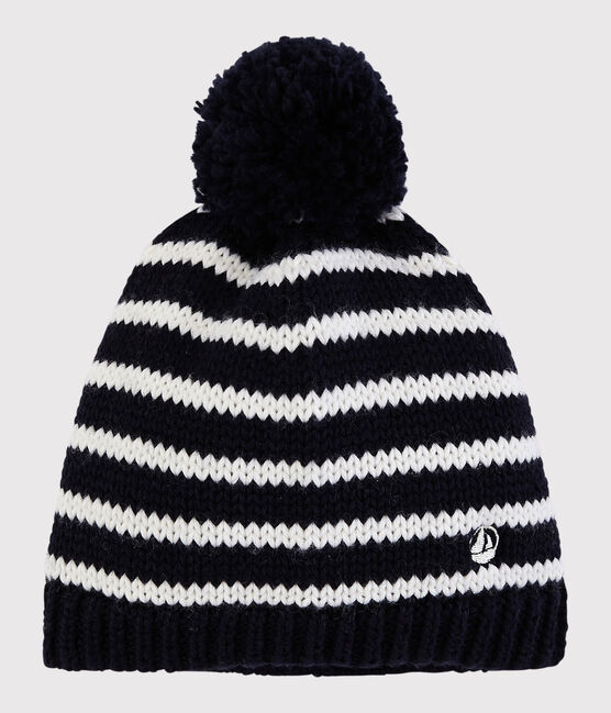 Cappello in maglia bambino - bambina blu Smoking / bianco Marshmallow
