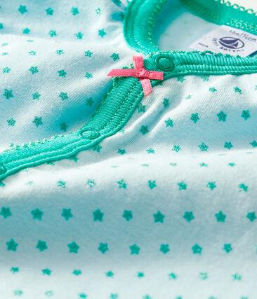 Tutina corta bebè femmina a costine verde Amandier / verde Esperanza Brillant