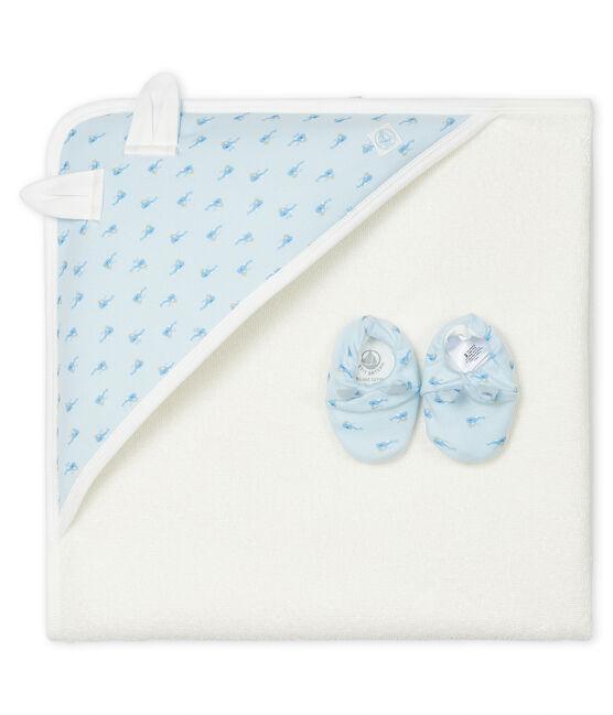 Cofanetto asciugamano quadrato da bagno e babbucce bebè in spugna e a costine blu Fraicheur / bianco Multico