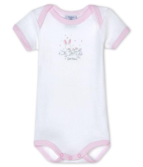Body manica corta bebè bambina bianco Ecume / rosa Doll
