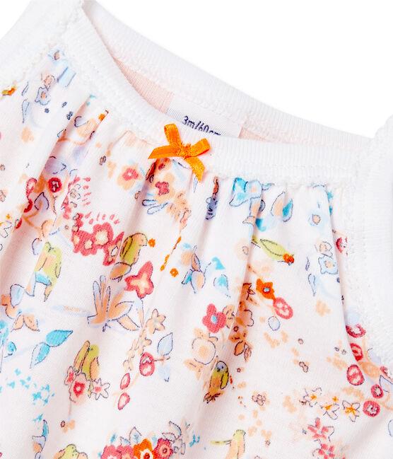 Body robe bébé fille à bretelles bianco Ecume / rosa Cupcake