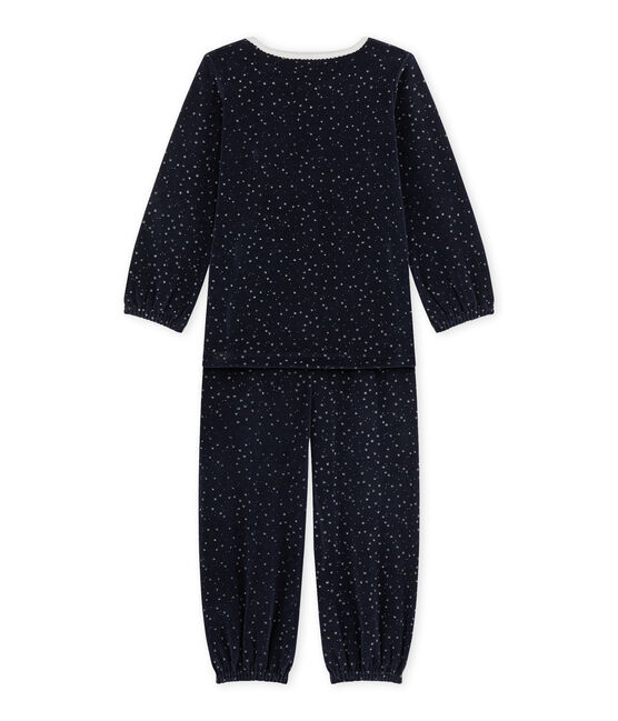 Pigiama per bambina in ciniglia blu Smoking / grigio Argent
