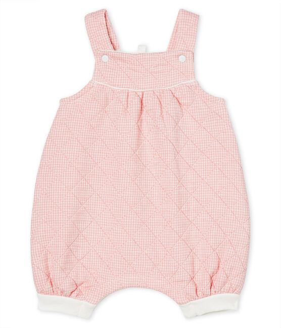 Salopette corta bebè in tubique trapuntato rosa Charme / bianco Marshmallow