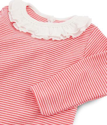 Body manica lunga bebè femmina con collettino rosa Groseiller / bianco Marshmallow