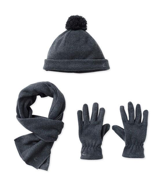 Cappello, guanti e sciarpa in pile grigio City Chine