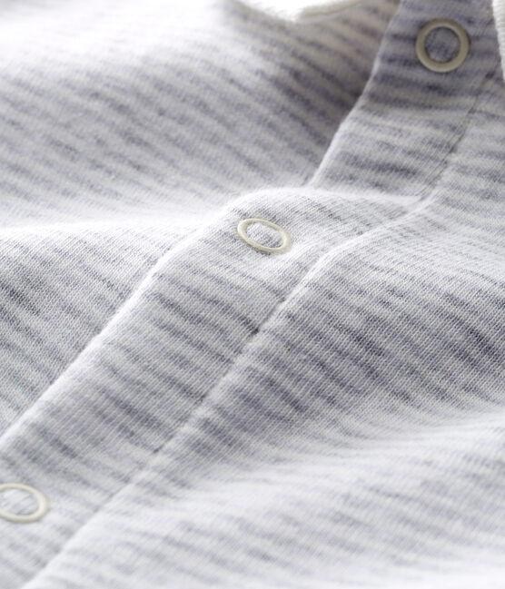 Bodyjama corto bebè a costine grigio Poussiere / bianco Marshmallow