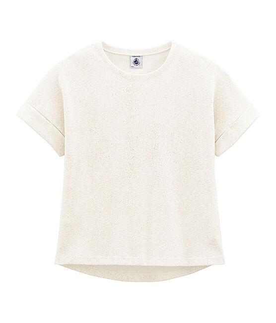 T-shirt a maniche corte bambina bianco Marshmallow / rosa Copper