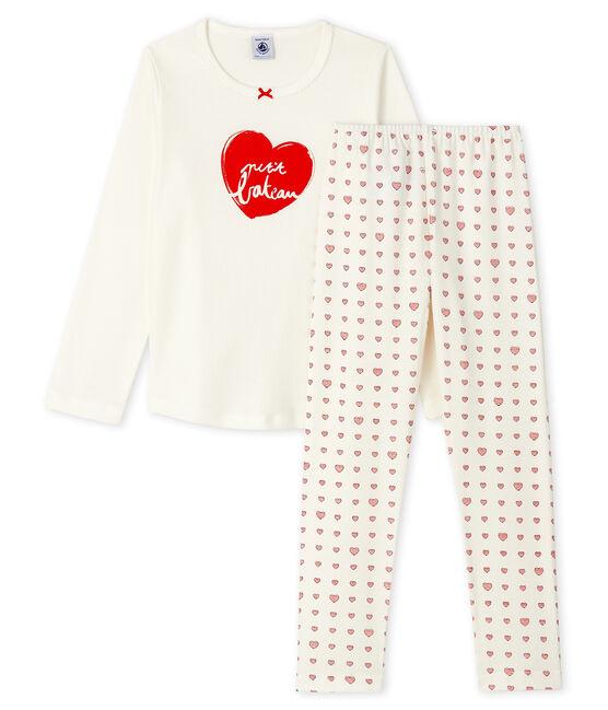 Pigiama cuore rosso bambina a costine bianco Marshmallow / bianco Multico
