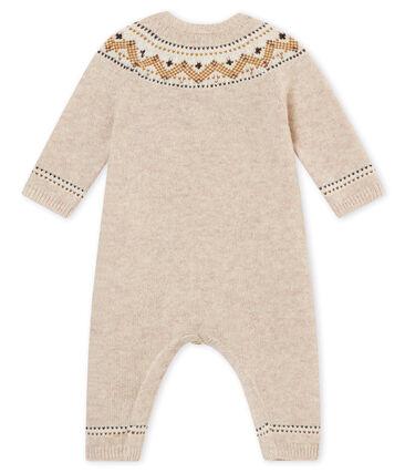 Tutina lunga tricot jaquard per bebé maschio beige Creamy Chine