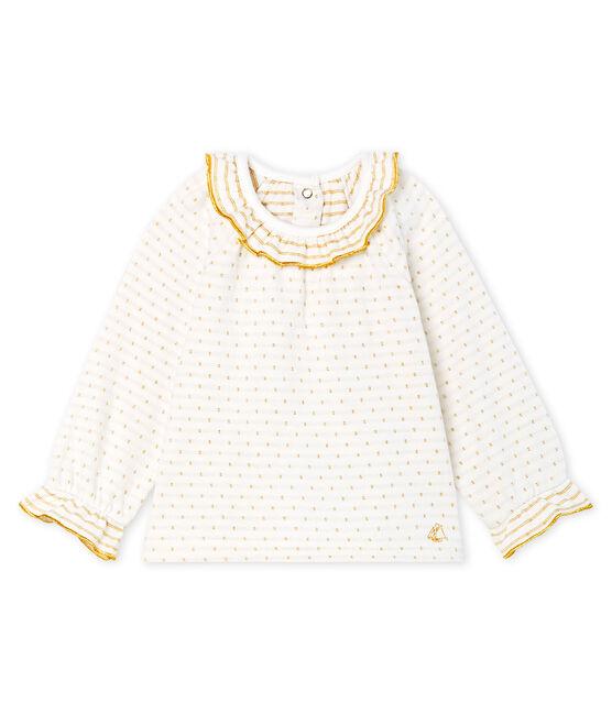 Blusa a manica lunga per bebè femmina in tubique jacquard bianco Marshmallow / giallo Or