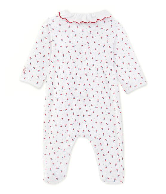 Tutina lunga per bebè bambina stampata bianco Ecume / rosso Peps