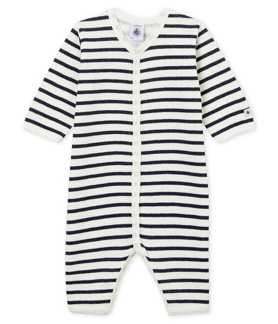 Tutina pigiama senza piedi in tubique per neonati bianco Marshmallow / blu Smoking