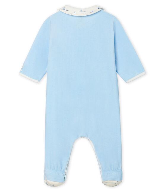 Tutina pigiama bebè maschio in ciniglia blu Toudou