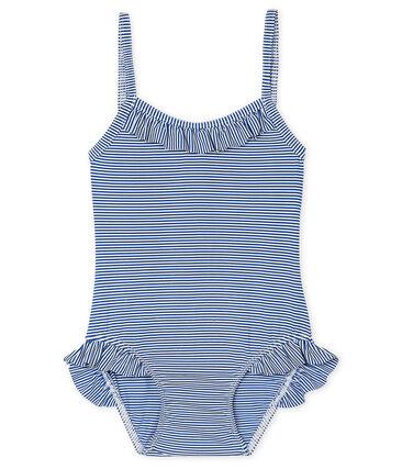 Costume da bagno UPF 50+ bebè femmina blu Surf / bianco Marshmallow