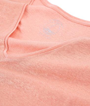 T-shirt maniche corte donna in lino cangiante rosa Rosako / rosa Copper