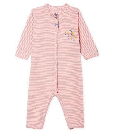 Tutina senza piedi a costine per bebé femmina rosa Charme / bianco Marshmallow