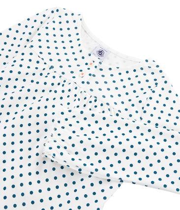 Pigiama bambina a costine bianco Marshmallow / blu Contes