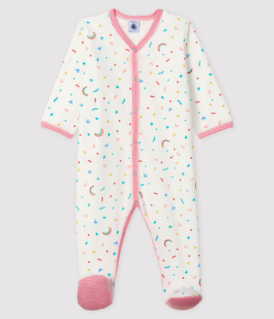 Tutina fantasia coriandoli bebè femmina in ciniglia bianco Marshmallow / bianco Multico
